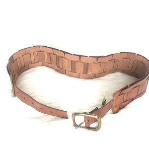 Fossil Link Tan Leather Belt Wide Size Small